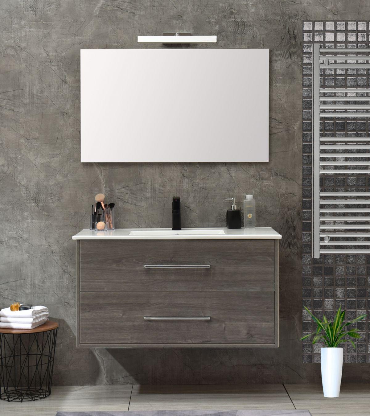 mobile 120 senza colonna grigio Mobile bagno Praga sospeso 100 cm grigio effetto legno con lavabo e specchio