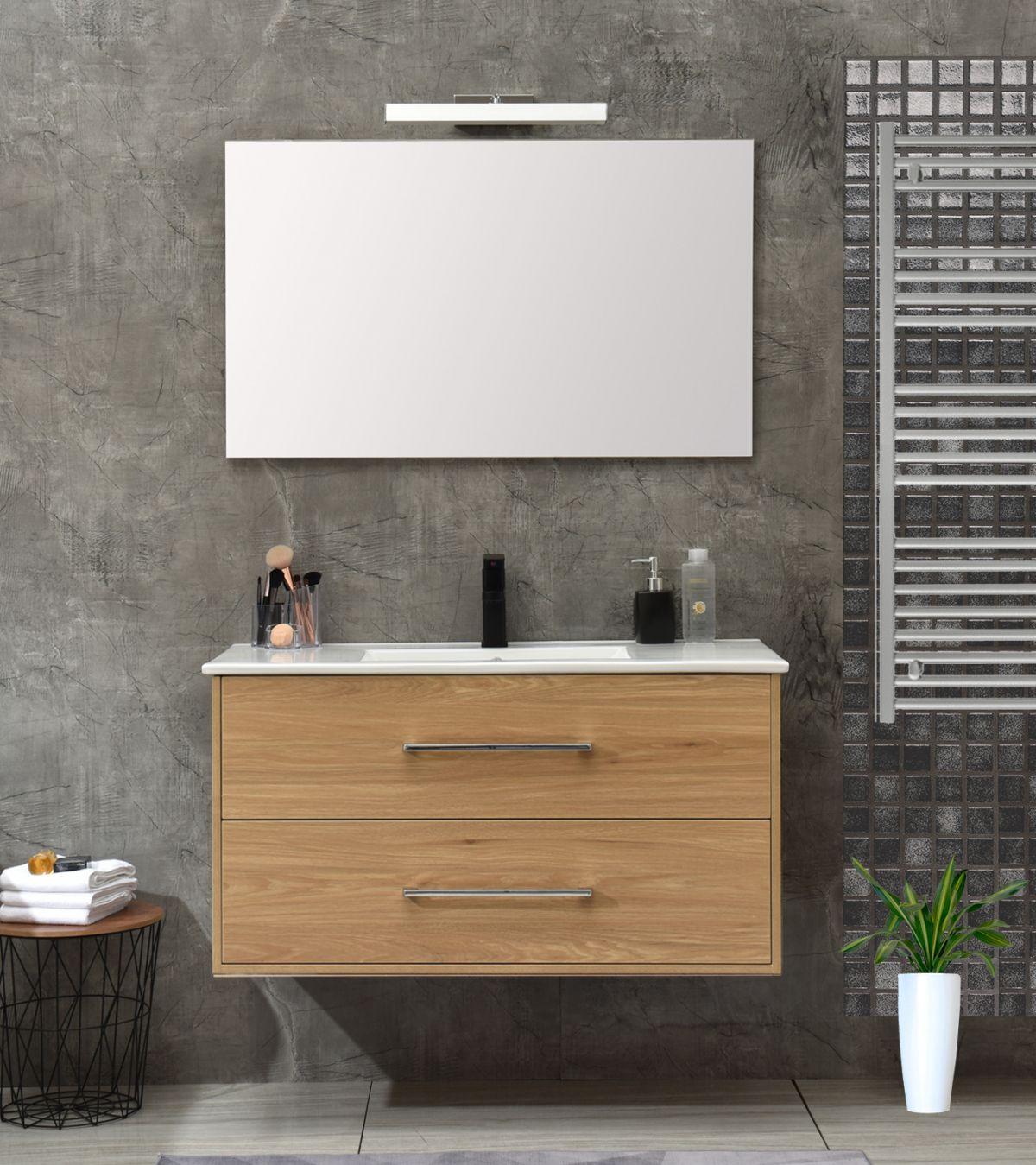 mobile 120 senza colonna rovere Mobile bagno Praga sospeso 100 cm rovere effetto legno con lavabo e specchio