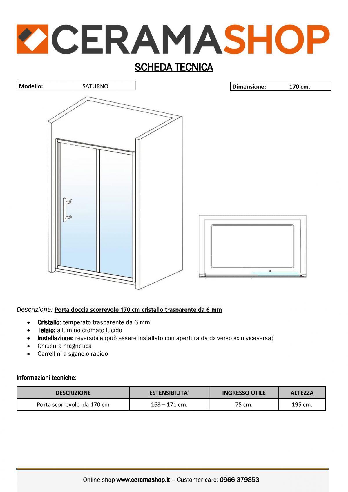 """nicchia 170 0001 scaled Porta doccia Nicchia """"Saturno"""" da 170 cm scorrevole cristallo trasparente da 6 mm"""
