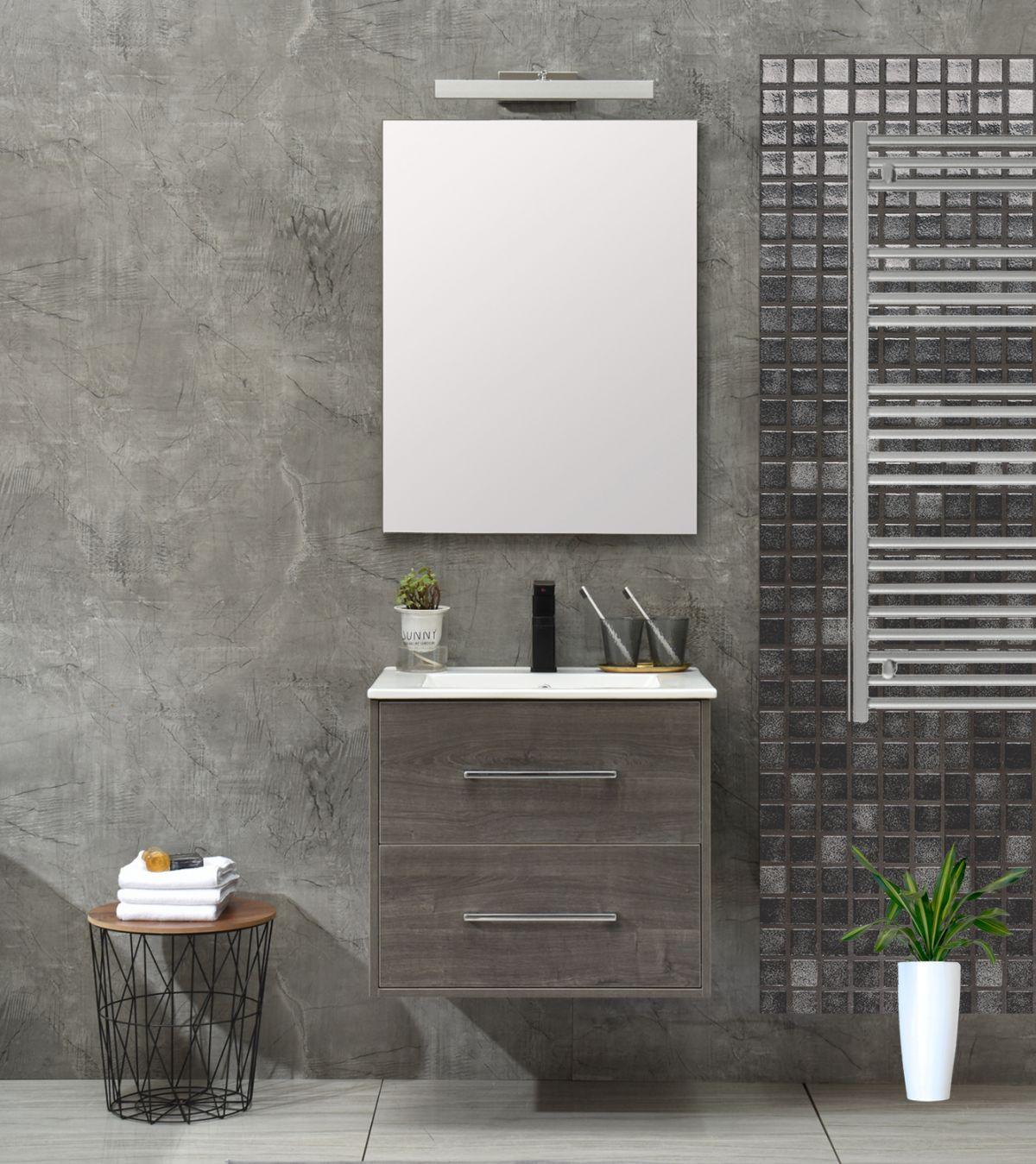 praga 60 less Mobile bagno Praga sospeso 60 cm grigio effetto legno con lavabo e specchio