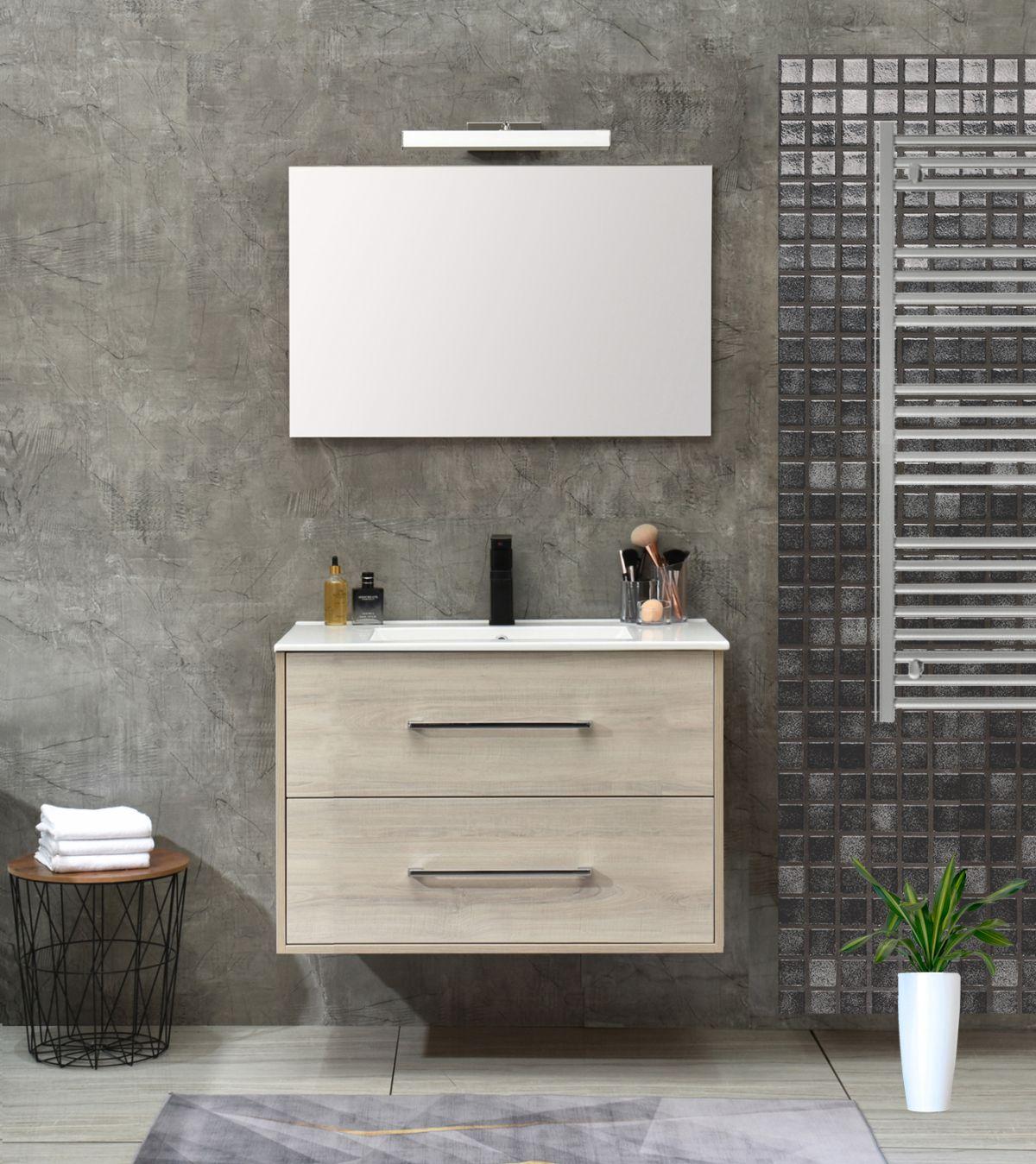 praga 80 bianco less Mobile bagno Praga sospeso 80 cm bianco effetto legno con lavabo e specchio
