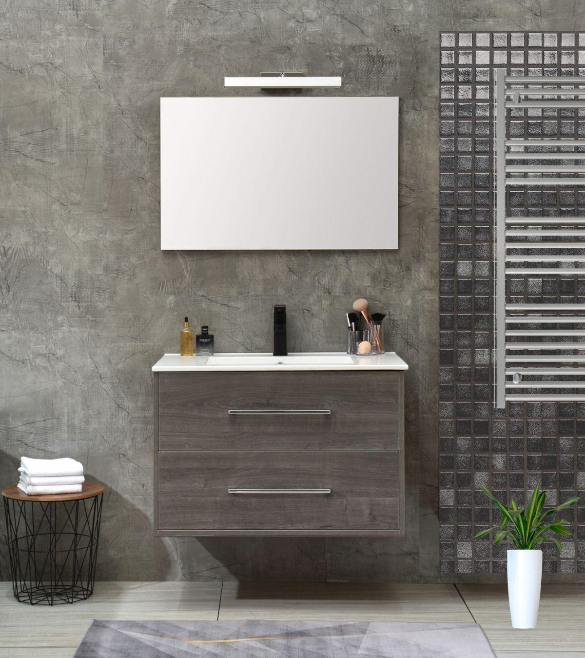 praga 80 grigio less Mobile bagno Praga sospeso 80 cm grigio effetto legno con lavabo e specchio