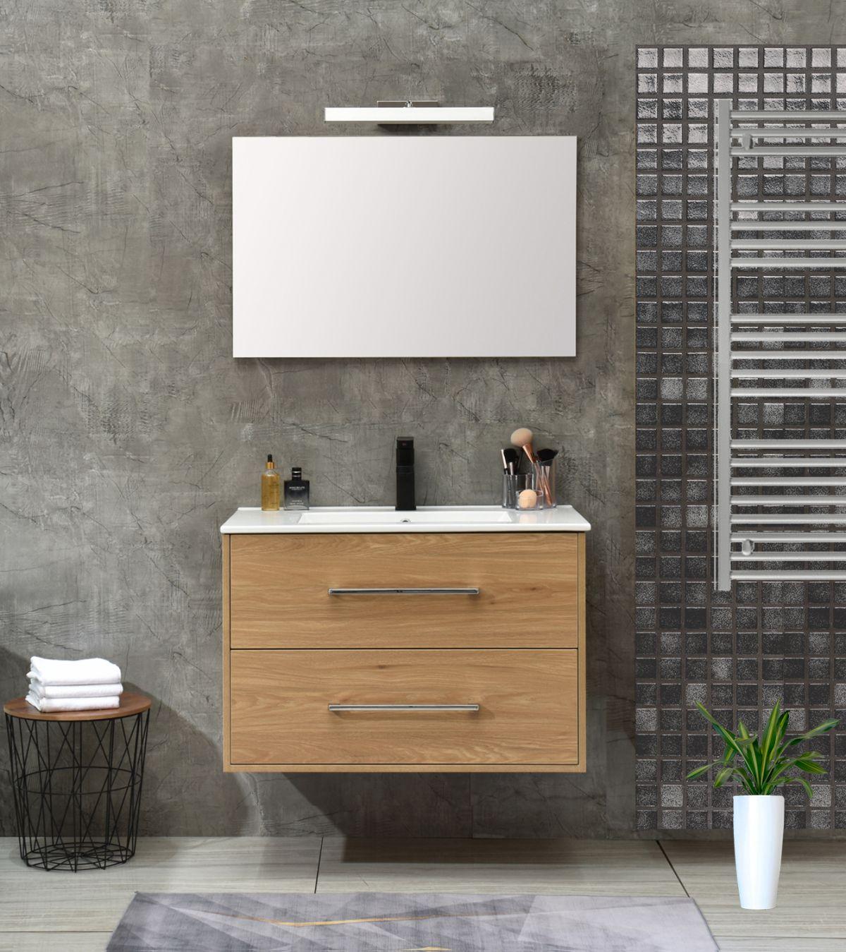 praga 80 rovere less Mobile bagno Praga sospeso 80 cm rovere effetto legno con lavabo e specchio
