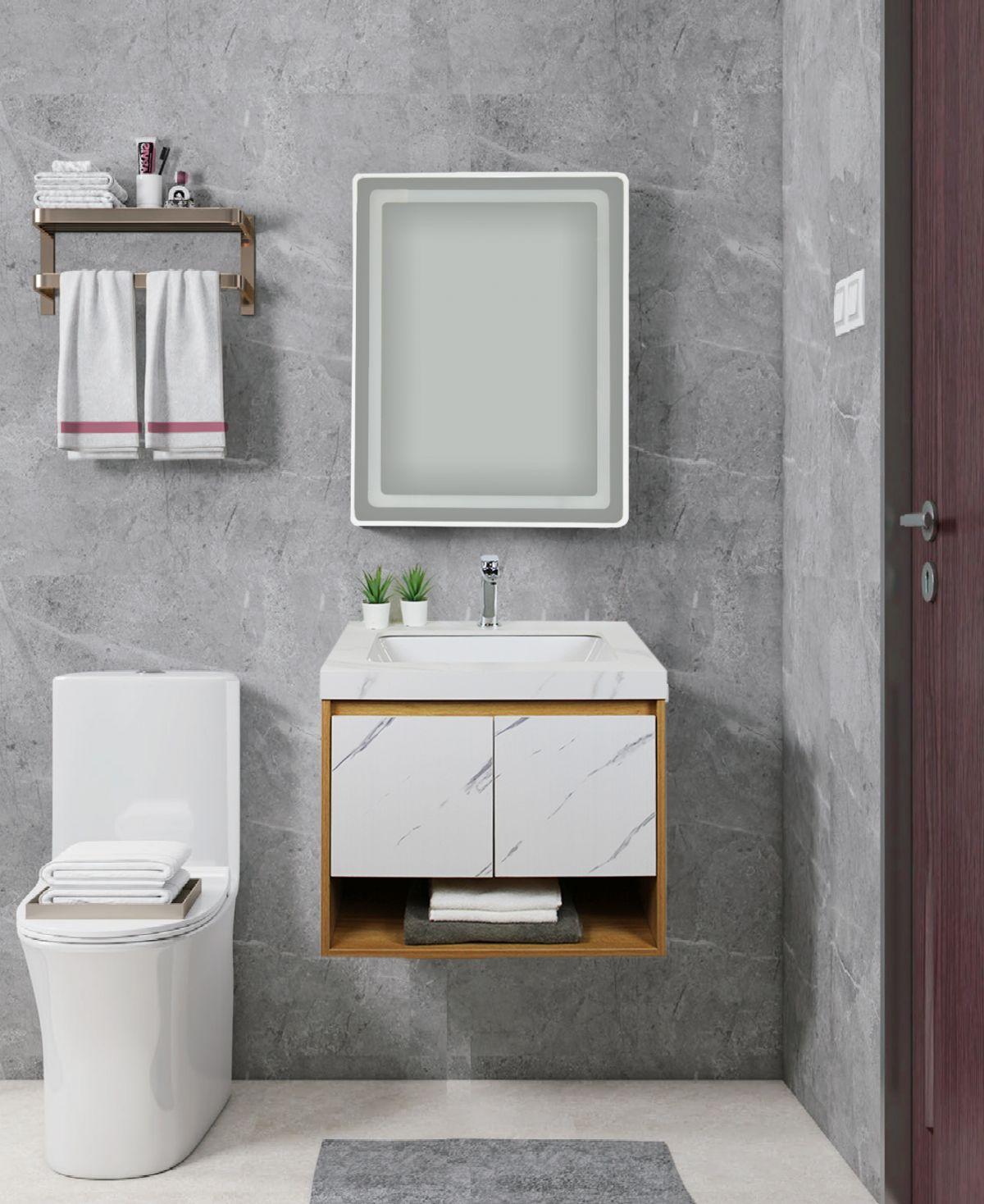 tripoli frontale d 6920 Mobile bagno Tripoli sospeso da 60 cm rovere chiaro e bianco effetto marmo con lavabo e specchio