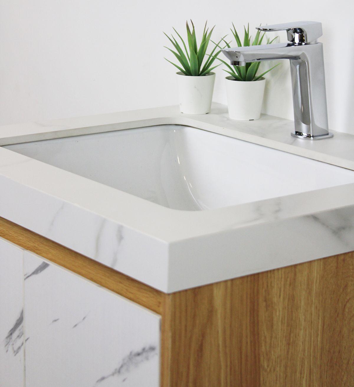 tripoli particolare D 6920 Mobile bagno Tripoli sospeso da 60 cm rovere chiaro e bianco effetto marmo con lavabo e specchio