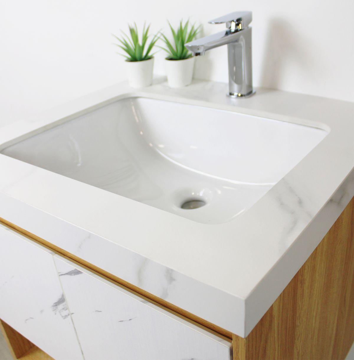 tripoli particolare 2 D 6920 Mobile bagno Tripoli sospeso da 60 cm rovere chiaro e bianco effetto marmo con lavabo e specchio