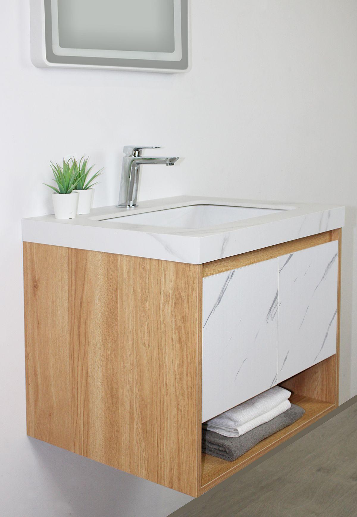 tripoli particolare 4 D 6920 Mobile bagno Tripoli sospeso da 60 cm rovere chiaro e bianco effetto marmo con lavabo e specchio