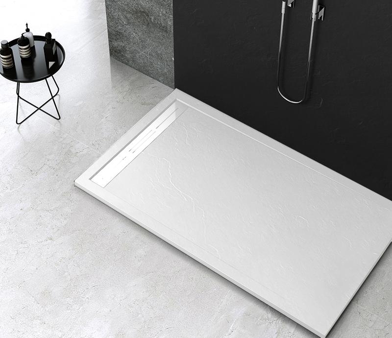 """Piatto doccia Mod Topazio Bianco Piatto doccia rettangolare """"Topazio"""" in marmogres bianco 80×140 h 3 cm riducibile ultraslim effetto pietra"""