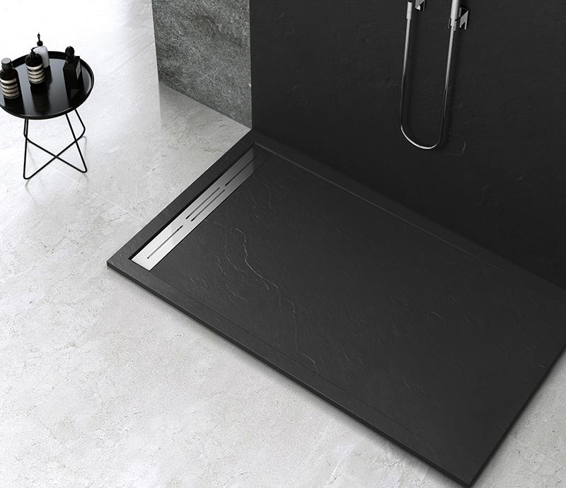 """Piatto doccia Mod Topazio NERO Piatto doccia rettangolare """"Topazio"""" in marmogres nero 80×140 h 3 cm riducibile ultraslim effetto pietra"""