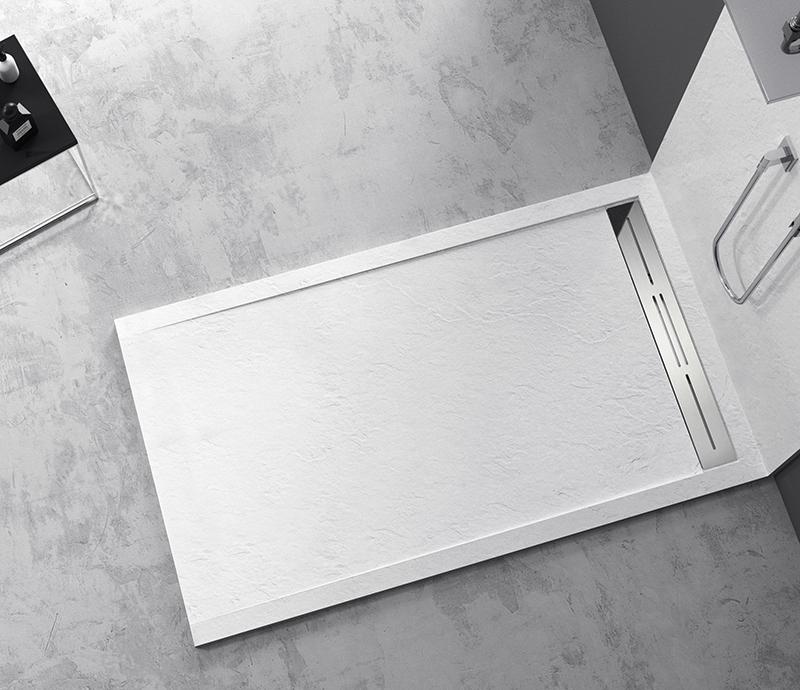 """Piatto doccia Mod Topazio 2 Bianco Piatto doccia rettangolare """"Topazio"""" in marmogres bianco 80×140 h 3 cm riducibile ultraslim effetto pietra"""
