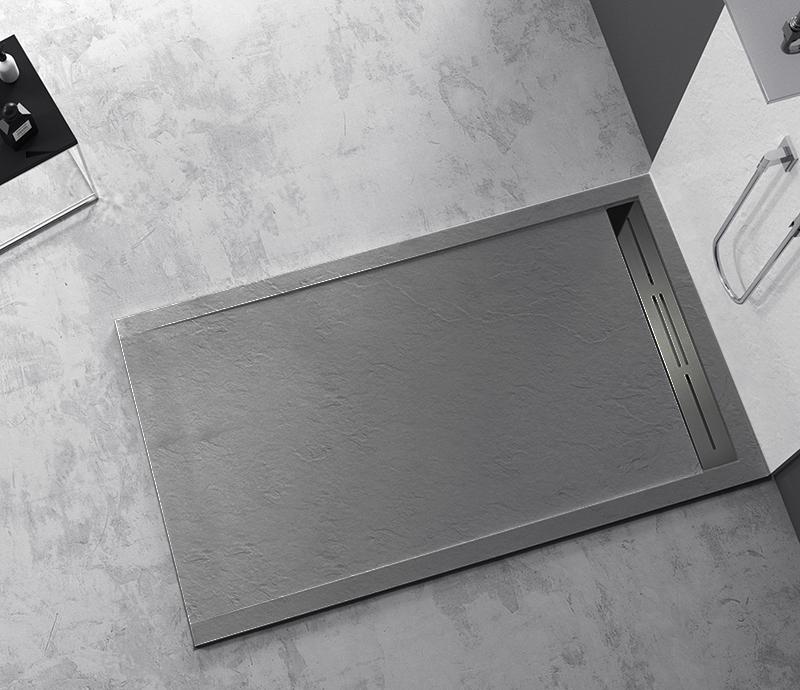 """Piatto doccia Mod Topazio 2 Light Grey Piatto doccia rettangolare """"Topazio"""" in marmogres grigio 80×120 h 3 cm riducibile ultraslim effetto pietra"""
