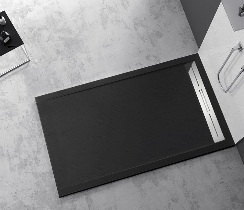 """Piatto doccia Mod Topazio 2 NERO Piatto doccia rettangolare """"Topazio"""" in marmogres nero 80×140 h 3 cm riducibile ultraslim effetto pietra"""