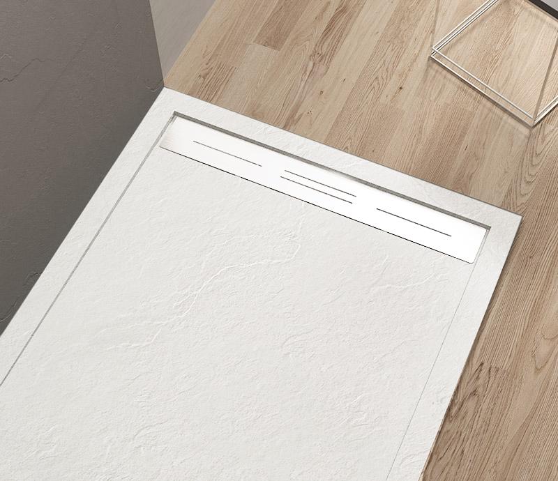 """Piatto doccia Mod Topazio 3 Bianco Piatto doccia rettangolare """"Topazio"""" in marmogres bianco 80×140 h 3 cm riducibile ultraslim effetto pietra"""