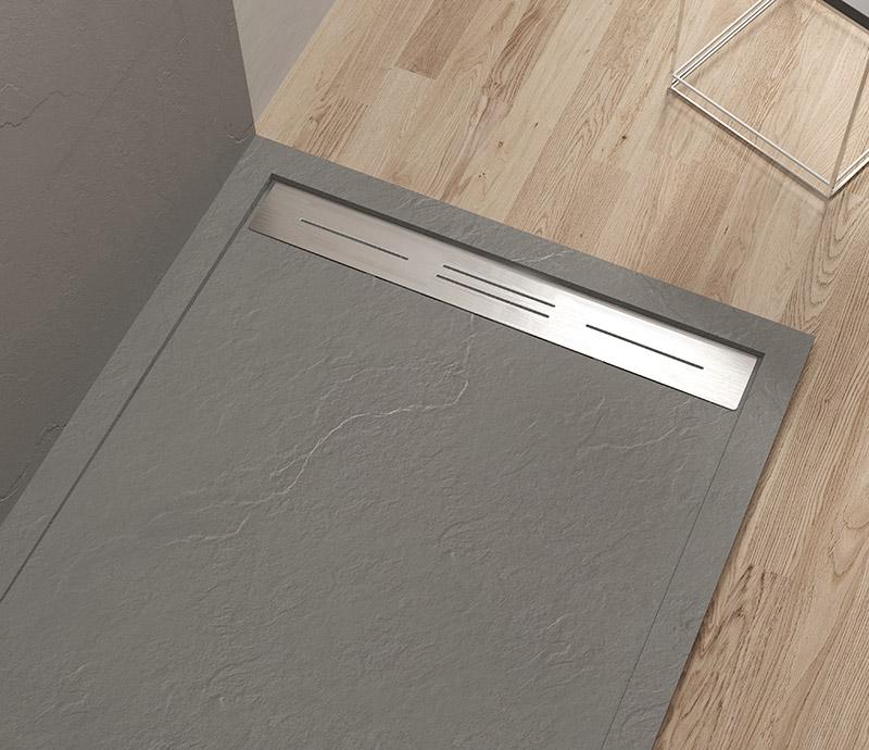 """Piatto doccia Mod Topazio 3 light Grey Piatto doccia rettangolare """"Topazio"""" in marmogres grigio 80×120 h 3 cm riducibile ultraslim effetto pietra"""