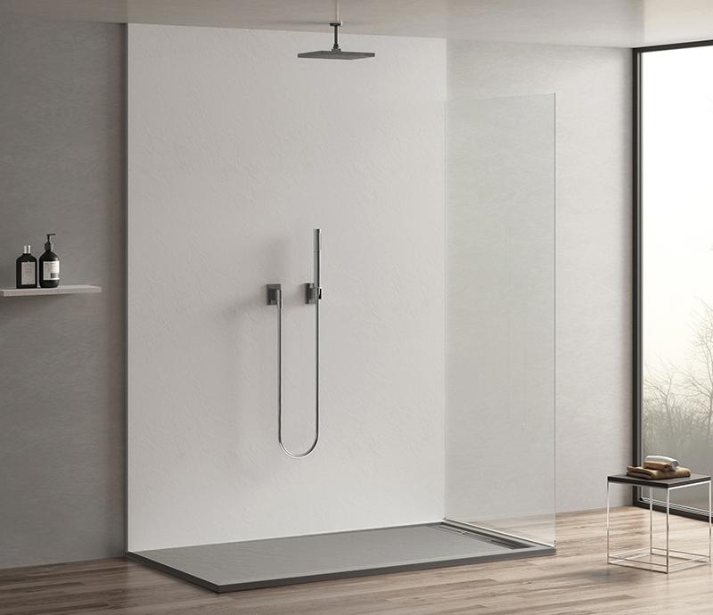 """Piatto doccia Mod Topazio 4 Piatto doccia rettangolare """"Topazio"""" in marmogres grigio 80×120 h 3 cm riducibile ultraslim effetto pietra"""