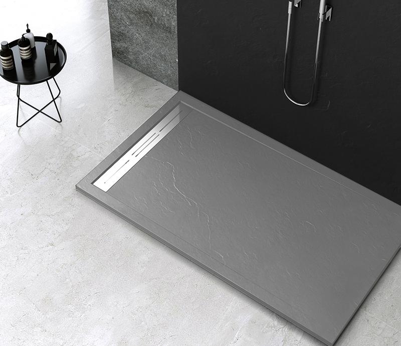 """Piatto doccia Mod Topazio 5 Dark Grey 1 Piatto doccia rettangolare """"Topazio"""" in marmogres grigio 80×120 h 3 cm riducibile ultraslim effetto pietra"""