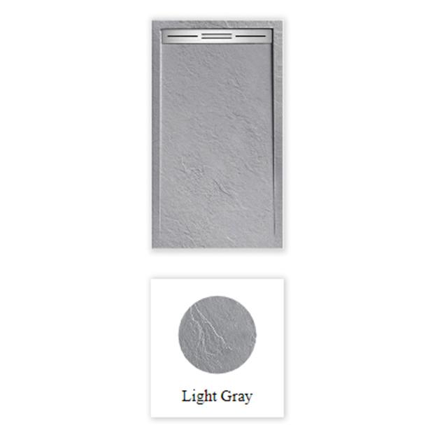 """Piatto doccia Mod Topazio 5 Light Grey Piatto doccia rettangolare """"Topazio"""" in marmogres grigio 80×120 h 3 cm riducibile ultraslim effetto pietra"""