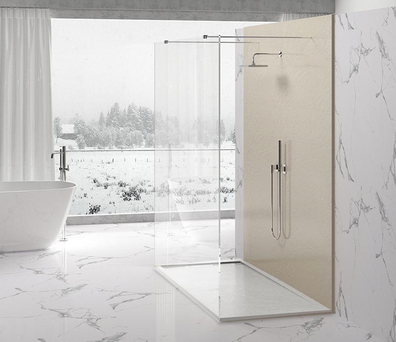 """Piatto doccia Mod Topazio 8 Bianco Piatto doccia rettangolare """"Topazio"""" in marmogres bianco 80×140 h 3 cm riducibile ultraslim effetto pietra"""