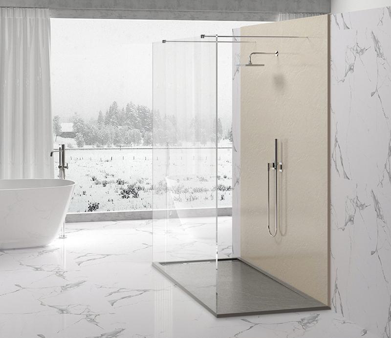 """Piatto doccia Mod Topazio 8 Light Grey Piatto doccia rettangolare """"Topazio"""" in marmogres grigio 80×120 h 3 cm riducibile ultraslim effetto pietra"""