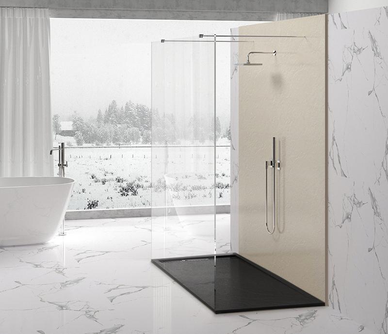 """Piatto doccia Mod Topazio 8 NERO Piatto doccia rettangolare """"Topazio"""" in marmogres nero 80×140 h 3 cm riducibile ultraslim effetto pietra"""