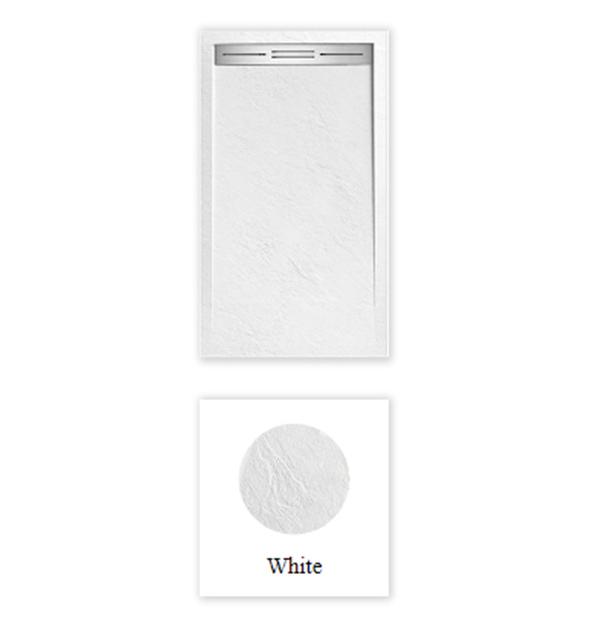 """Piatto doccia Topazio Bianco Piatto doccia rettangolare """"Topazio"""" in marmogres bianco 80×140 h 3 cm riducibile ultraslim effetto pietra"""