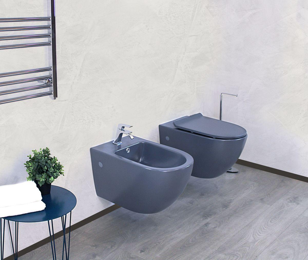 Round sospeso grigio 1 1 Sanitari Sospesi Round in ceramica col grigio opaco Vaso+Bidet+Coprivaso Soft Close