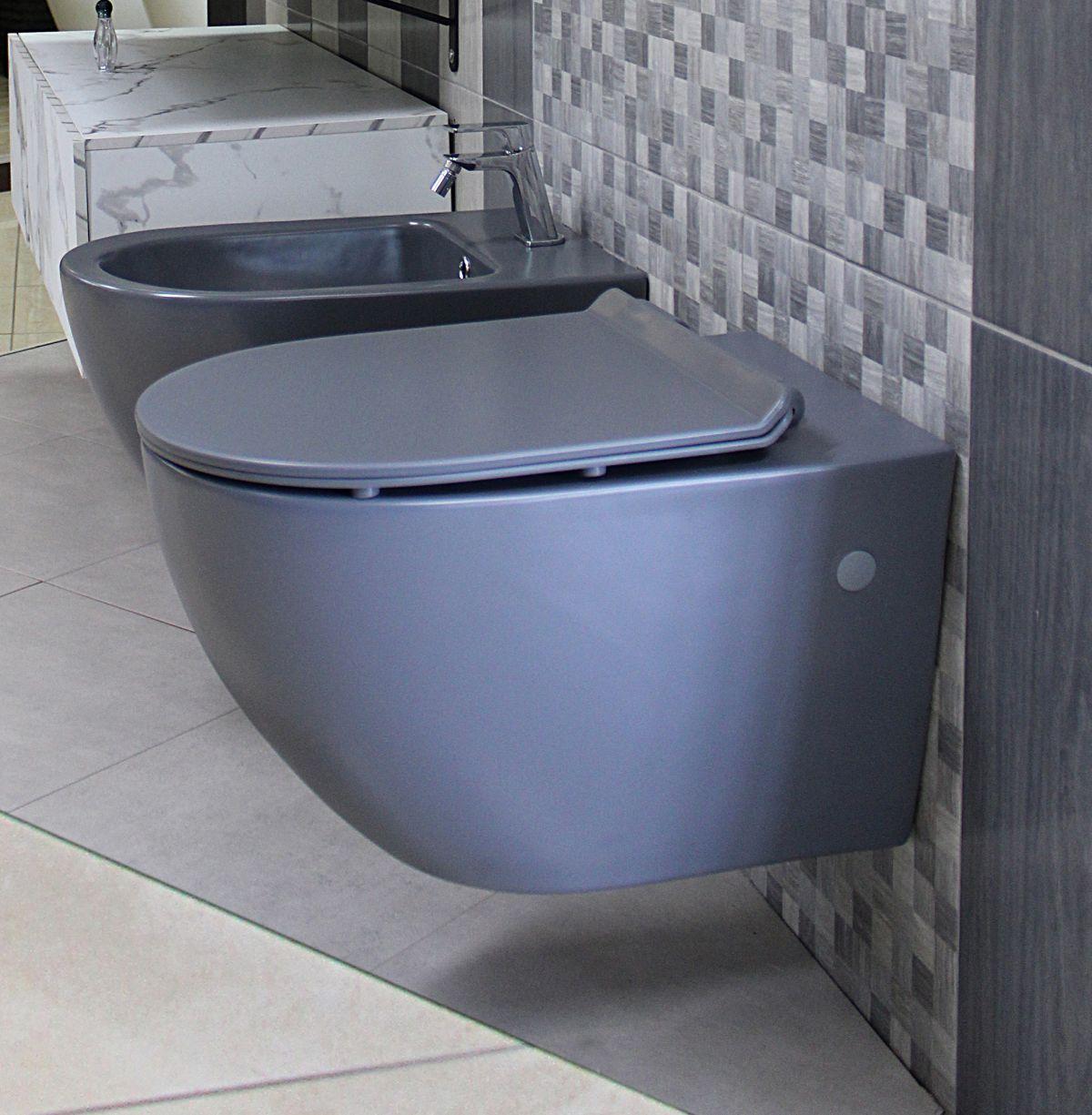 Round sospeso grigio 2 Sanitari Sospesi Round in ceramica col grigio opaco Vaso+Bidet+Coprivaso Soft Close