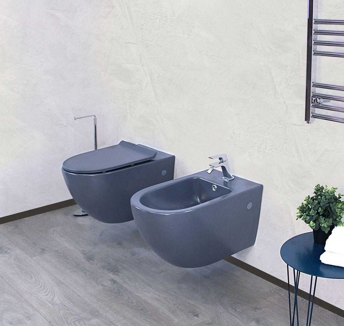 Round sospeso grigio 3 Sanitari Sospesi Round in ceramica col grigio opaco Vaso+Bidet+Coprivaso Soft Close