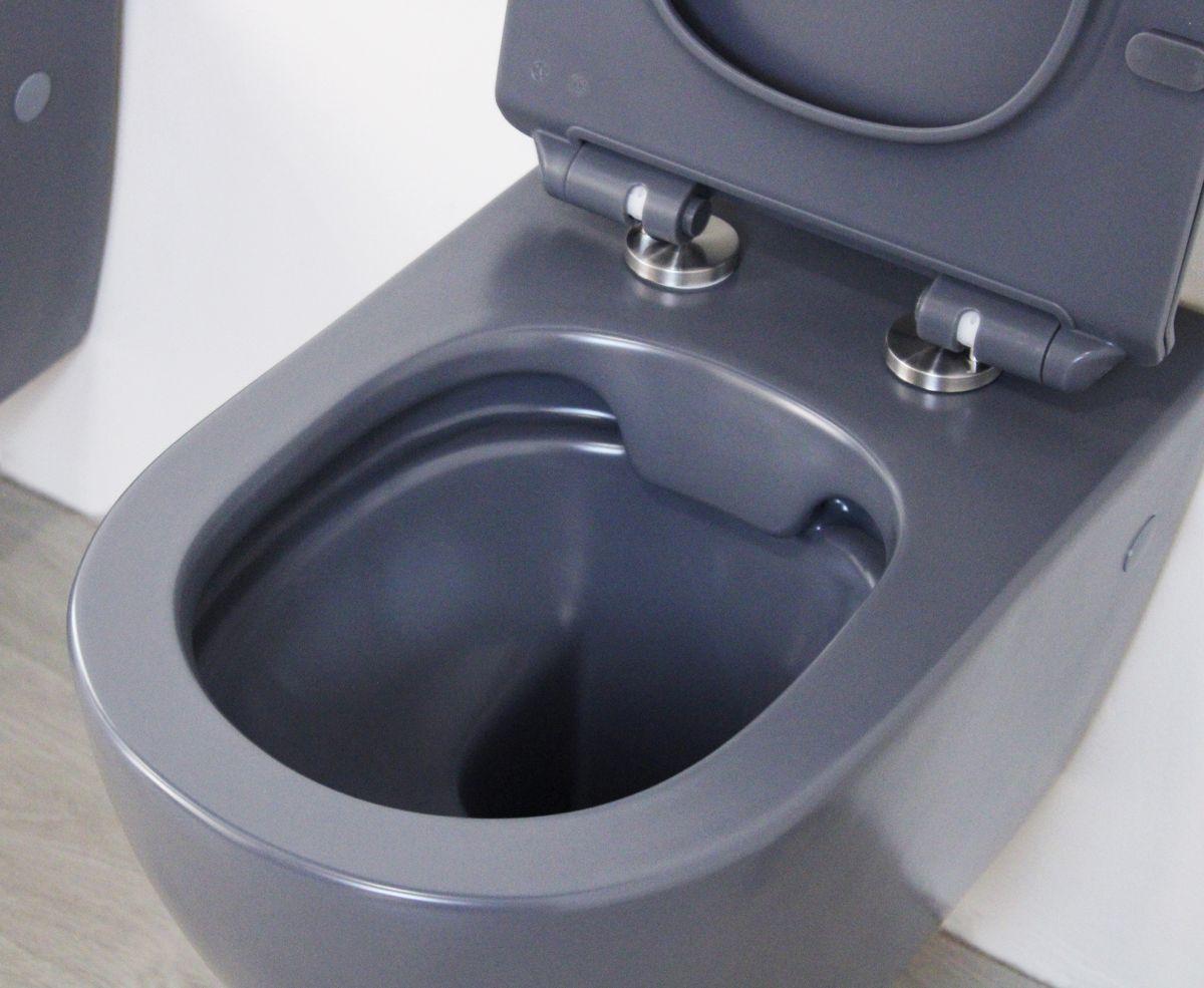 Round sospeso grigio 4 Sanitari Sospesi Round in ceramica col grigio opaco Vaso+Bidet+Coprivaso Soft Close