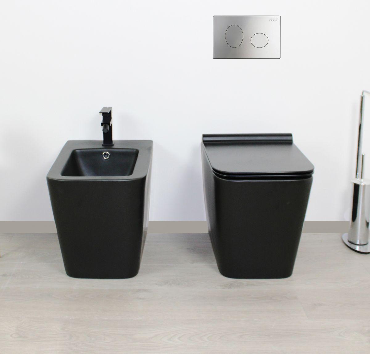 Square terra nero frontale Sanitari filo muro Square in ceramica col nero opaco Vaso+Bidet+Coprivaso Soft Close