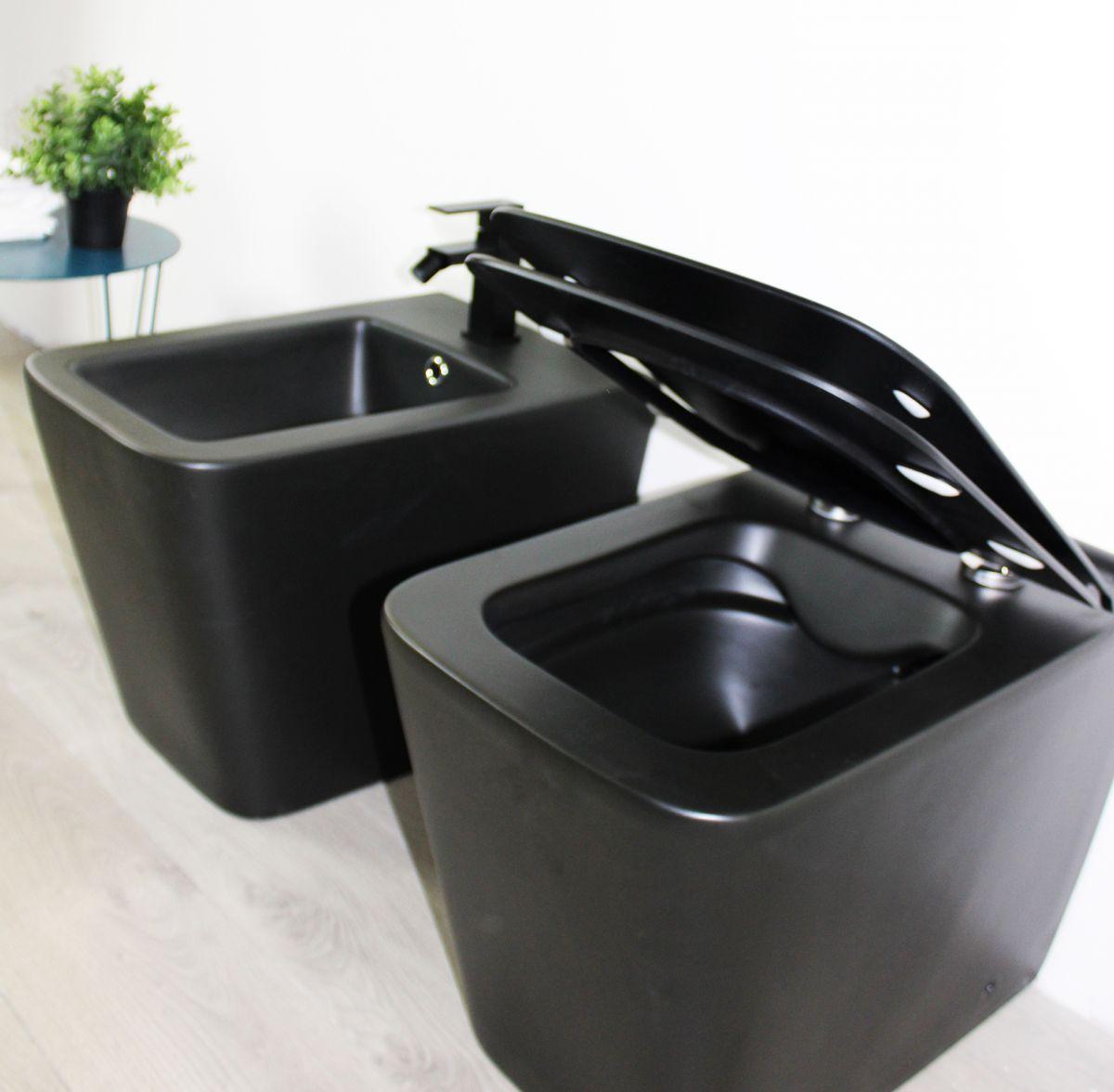 Square terra nero rimless Sanitari filo muro Square in ceramica col nero opaco Vaso+Bidet+Coprivaso Soft Close